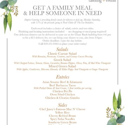 New Menu! Get a Family Meal & Help Someone in Need
