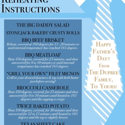 2020 Father's Day Menu