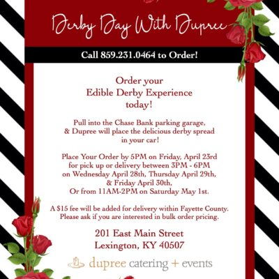 Derby Day Pick Up and Delivery Menus